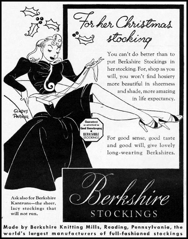 Berkshire Stockings - published in Life - December 16, 1940 - art by Gladys Parker