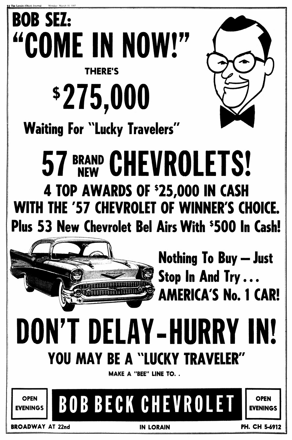 Bob Beck Chevrolet - published in the Lorain Journal - March 11, 1957