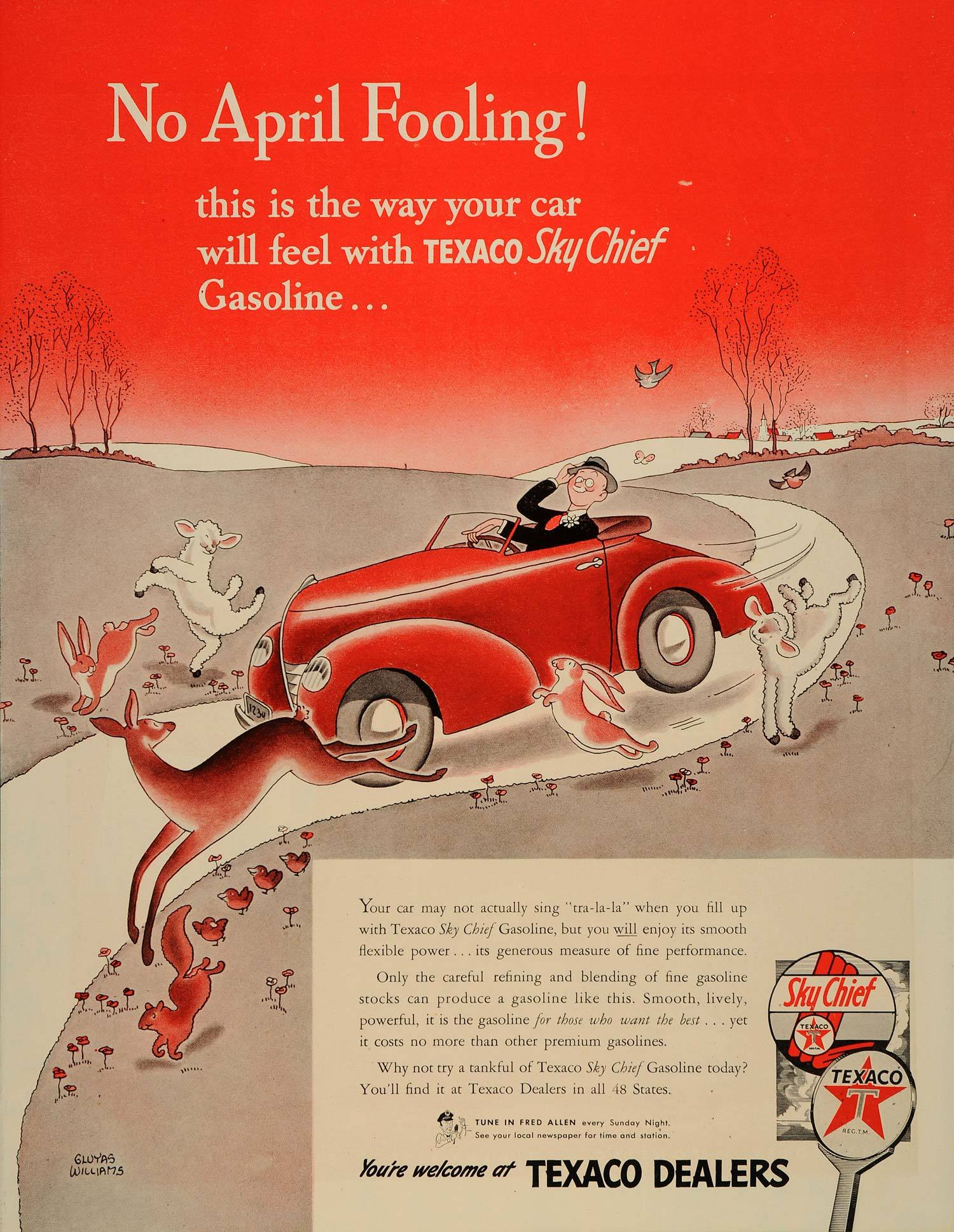 Texaco Sky Chief Gasoline - illustration by Gluyas Williams - 1937