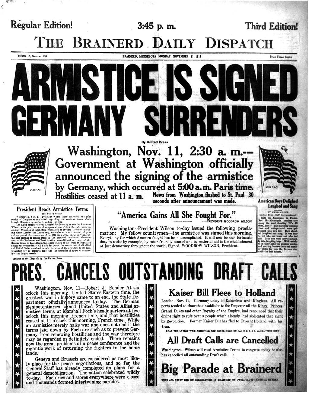 The Brainerd Daily Dispatch - Brainerd, Minnesota U.S.A. - November 11, 1918