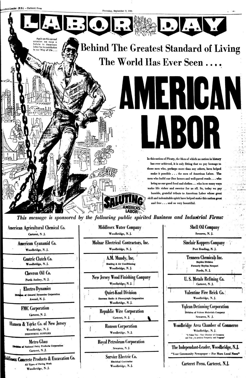 Carteret Press - Carteret, New Jersey U.S.A. - September 2, 1965